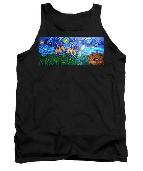 Bluebird Dragonfly And Irises Tank Top by Genevieve Esson