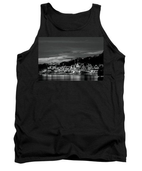 Boathouse Row Philadelphia Pa Night Black And White Tank Top
