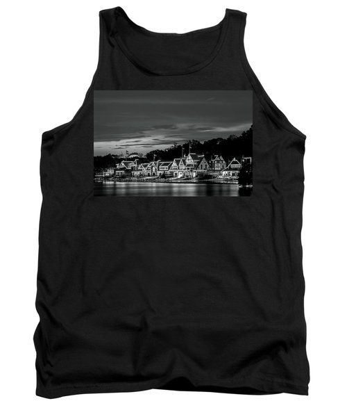 Boathouse Row Philadelphia Pa Night Black And White Tank Top