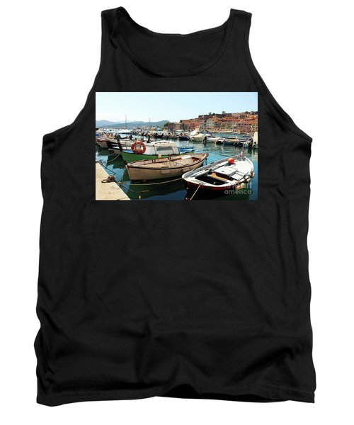 Tank Top featuring the photograph Boats In The Harbour by MGL Meiklejohn Graphics Licensing