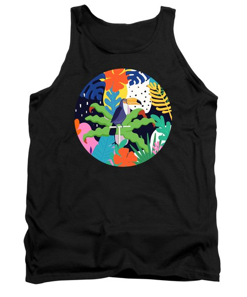 Bold Tropical Jungle Abstraction With Toucan Memphis Style Tank Top