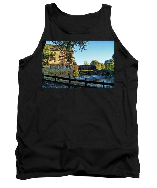 Tank Top featuring the photograph Bollinger Mill And Bridge by Cricket Hackmann