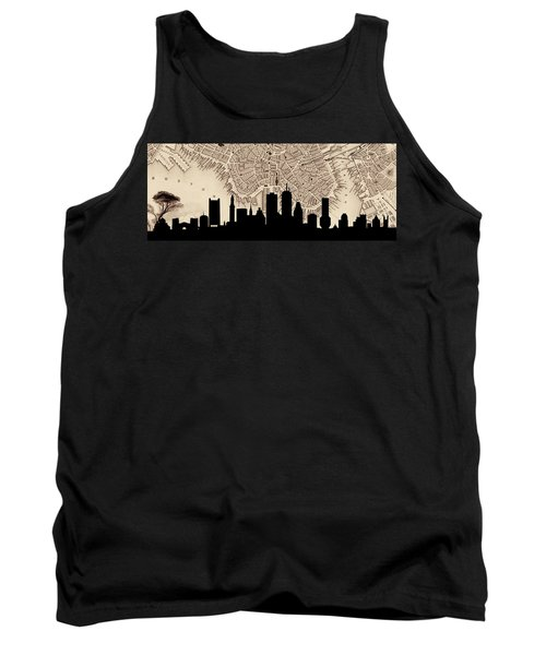 Boston Skyline Vintage Tank Top by Andrew Fare