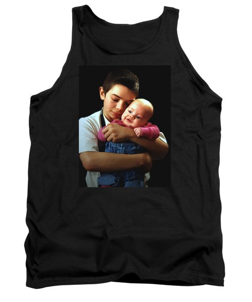 Tank Top featuring the photograph Boy With Bald-headed Baby by RC deWinter