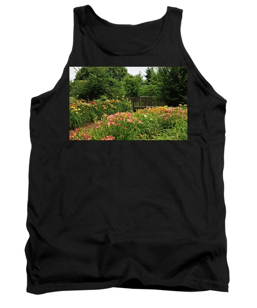Tank Top featuring the photograph Bridge In Daylily Garden by Sandy Keeton