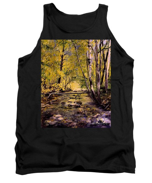 Tank Top featuring the painting Brook In Stowe Vermont by Laurie Rohner