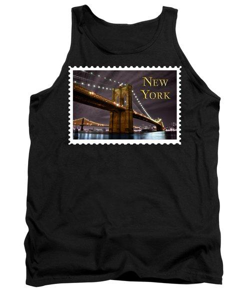 Brooklyn Bridge At Night New York City Text Tank Top