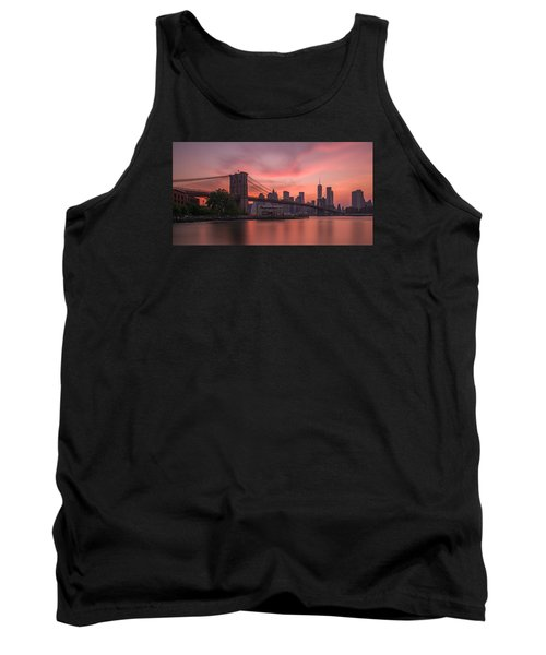 Tank Top featuring the photograph Brooklyn Bridge Sunset by Scott McGuire