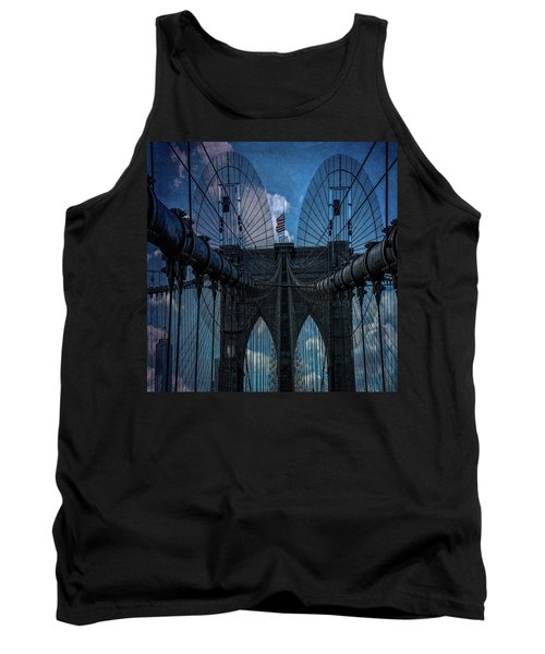 Tank Top featuring the photograph Brooklyn Bridge Webs by Chris Lord