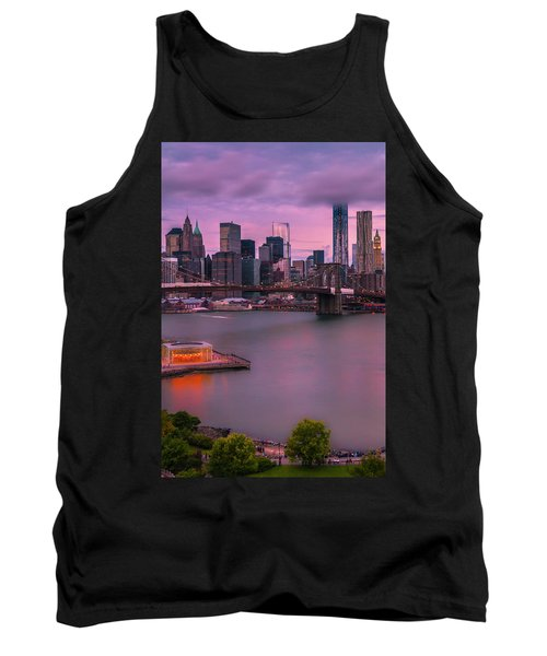 Tank Top featuring the photograph Brooklyn Bridge World Trade Center In New York City by Ranjay Mitra