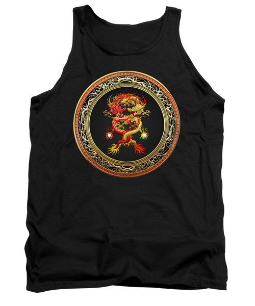 Brotherhood Of The Snake - The Red And The Yellow Dragons On Black Velvet Tank Top by Serge Averbukh