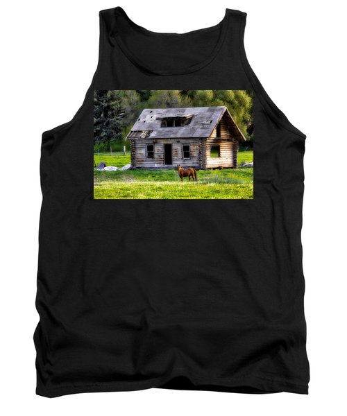 Brown Horse And Old Log Cabin Tank Top