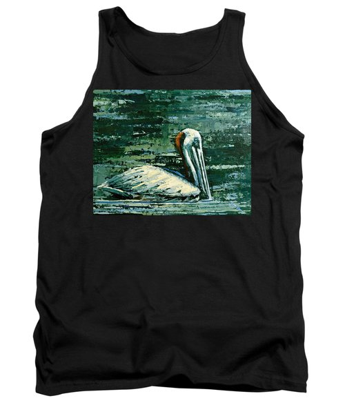 Brownie Swimming In Green Water Tank Top by Suzanne McKee