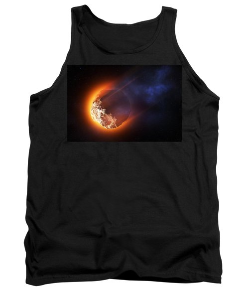 Burning Asteroid Entering The Atmoshere Tank Top