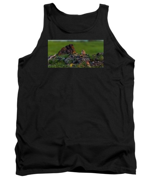 Tank Top featuring the photograph Burrowing Owl In Cactus #1 by Yeates Photography