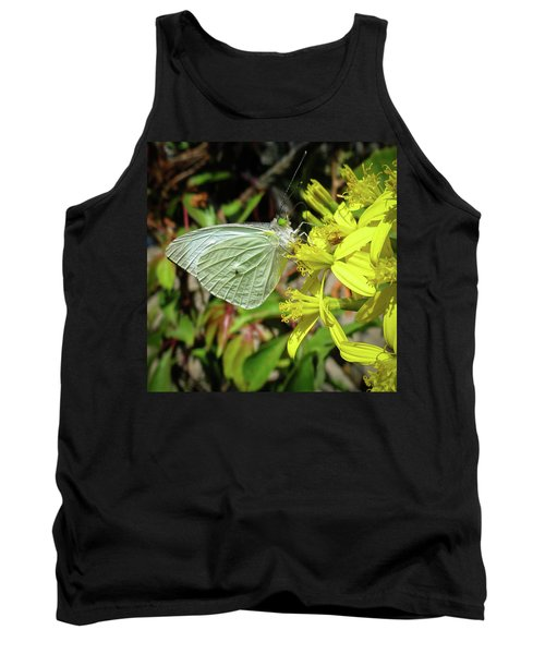 Butterfly Feasting On Yellow Flowers Tank Top
