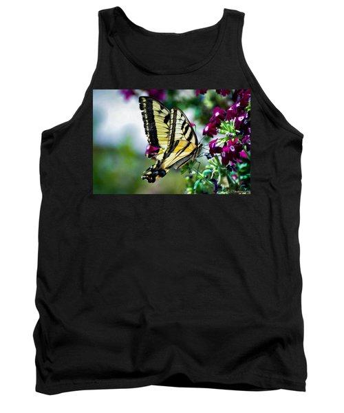 Butterfly On Purple Flowers Tank Top