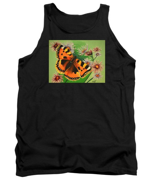 Butterfly With Asters Tank Top by Donna Blossom