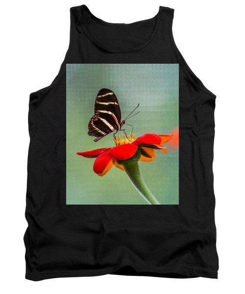 Butterfly Zebra Longwing On Zinnia Tank Top