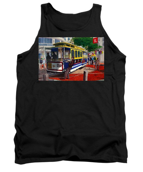 Cable Car Turntable At Powell And Market Sts. Tank Top by Mike Robles
