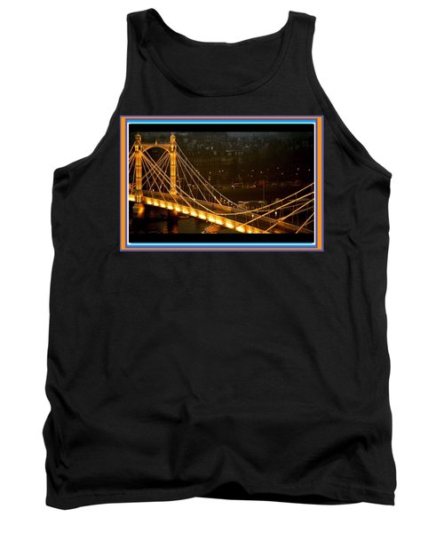 Cable-stayed Gold Sparkle Bridge At Night In London Tank Top