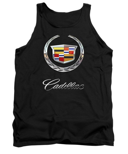 Cadillac - 3 D Badge On Black Tank Top by Serge Averbukh
