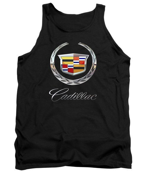 Cadillac - 3d Badge On Black Tank Top by Serge Averbukh