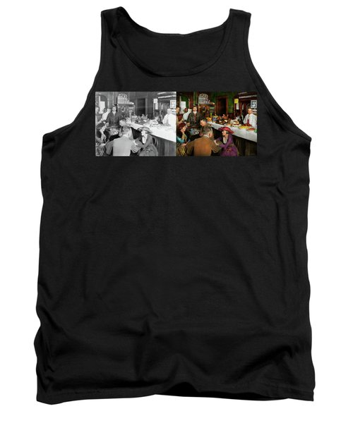 Tank Top featuring the photograph Cafe - Temptations 1915 - Side By Side by Mike Savad