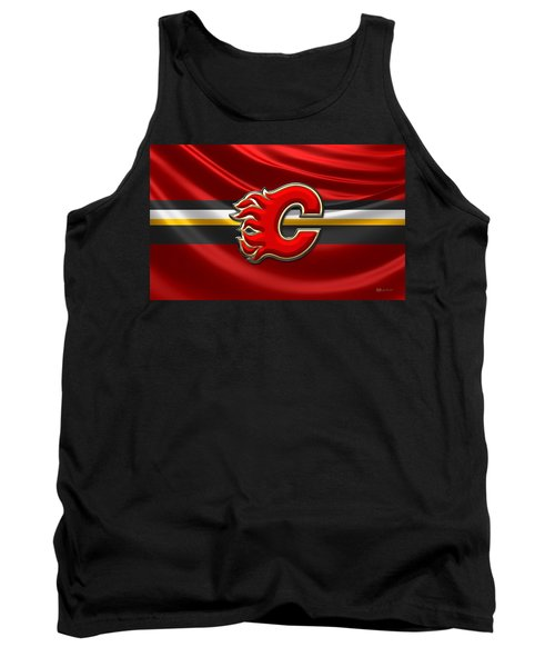 Calgary Flames - 3d Badge Over Flag Tank Top