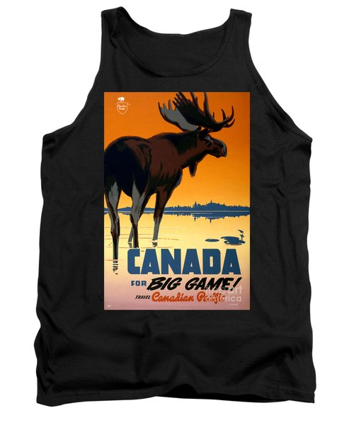 Canada Big Game Vintage Travel Poster Restored Tank Top
