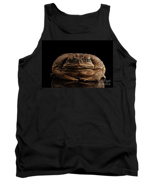 Cane Toad - Bufo Marinus, Giant Neotropical Or Marine Toad Isolated On Black Background, Front View Tank Top