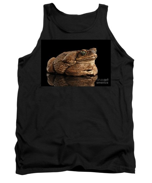 Cane Toad - Bufo Marinus, Giant Neotropical Or Marine Toad Isolated On Black Background Tank Top
