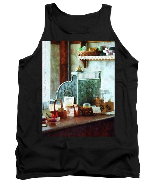 Tank Top featuring the photograph Cash Register In General Store by Susan Savad