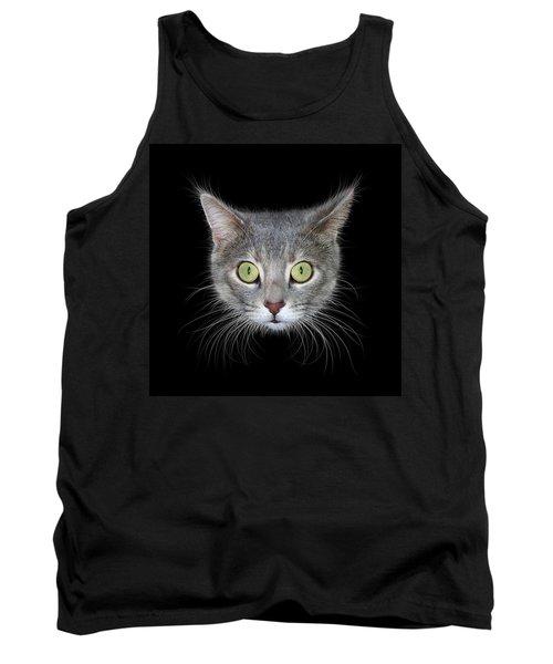 Cat Head On Black Background Tank Top by James Larkin