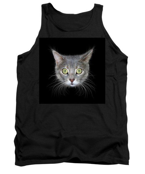 Cat Head On Black Background Tank Top