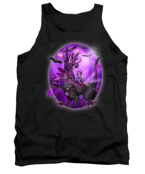 Tank Top featuring the mixed media Cat In Goth Witch Hat by Carol Cavalaris