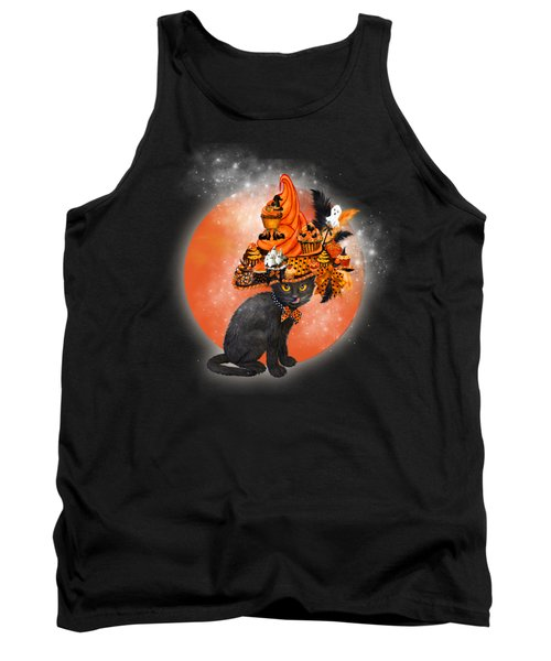 Tank Top featuring the painting Cat In Halloween Cupcake Hat by Carol Cavalaris