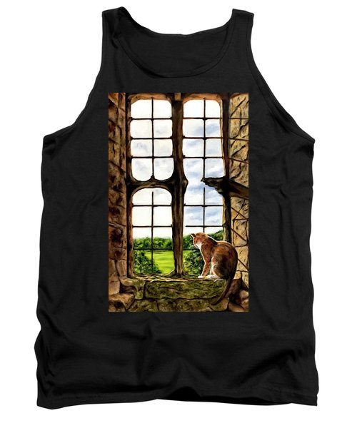 Cat In The Castle Window-close Up Tank Top