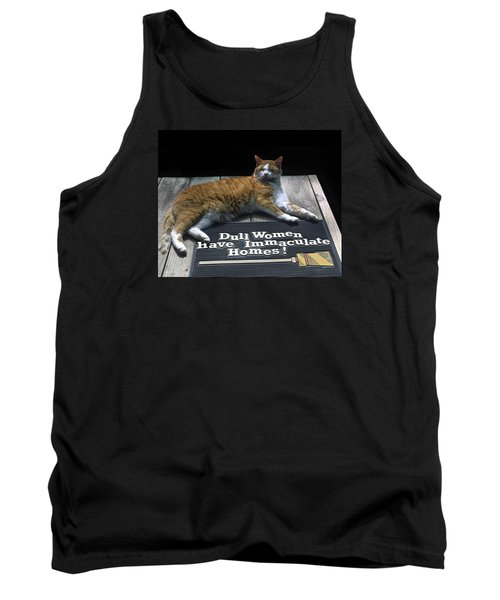 Cat On Dull Women Mat Tank Top by Sally Weigand