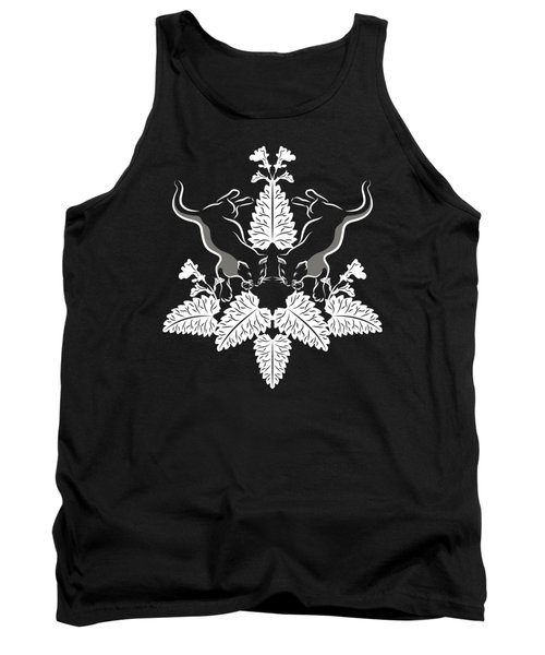 Cats And Catnip White On Black Tank Top
