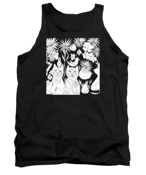 Tank Top featuring the drawing Cats In The Garden by Lou Belcher