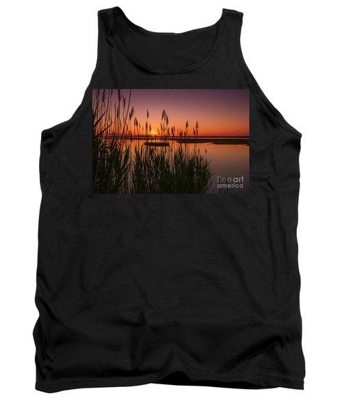 Cedar Beach Sunset In The Reeds Tank Top