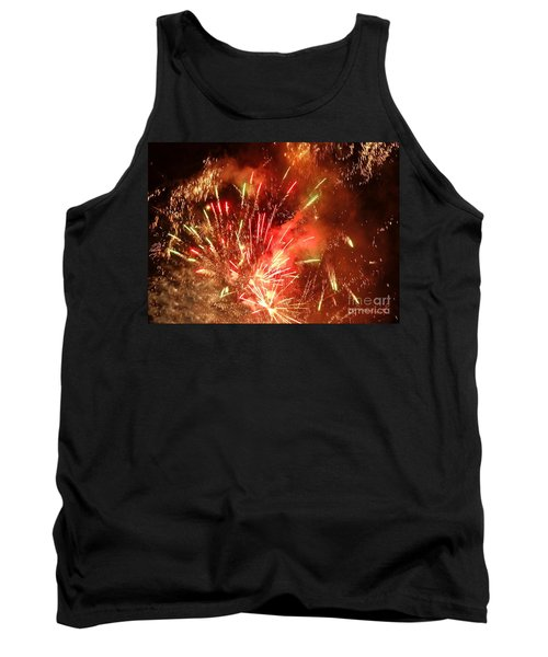 Tank Top featuring the photograph Celebratory Fireworks And Firecrackers Light Up The Sky by Yali Shi