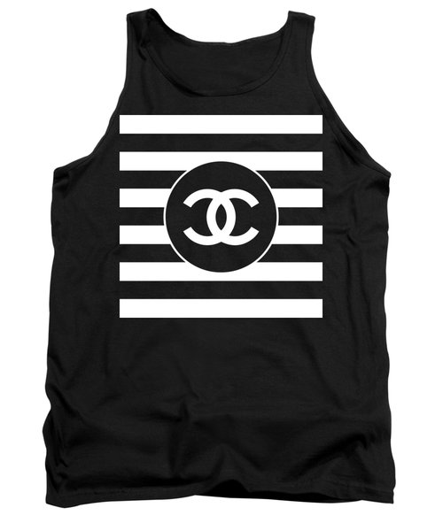 Chanel - Stripe Pattern - Black And White 2 - Fashion And Lifestyle Tank Top
