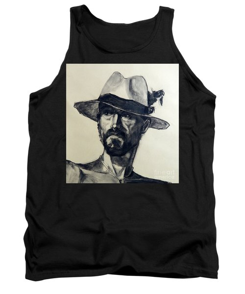 Charcoal Portrait Of A Man Wearing A Summer Hat Tank Top