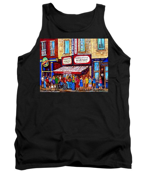 Charcuterie Hebraique Schwartz Line Up Waiting For Smoked Meat Montreal Paintings Carole Spandau     Tank Top
