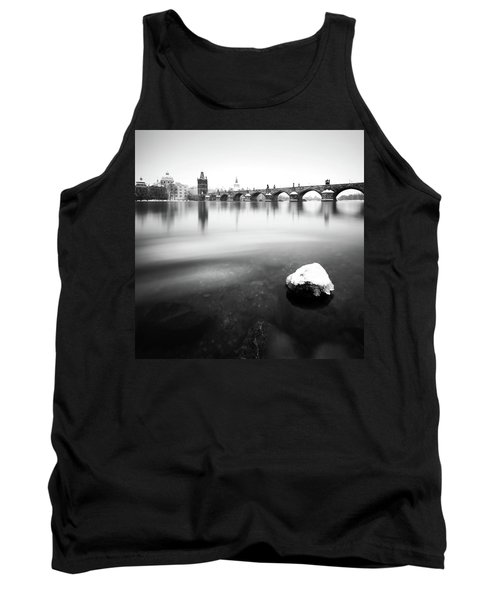 Charles Bridge During Winter Time With Frozen River, Prague, Czech Republic Tank Top