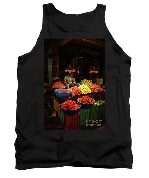 Tank Top featuring the photograph Cheannai Flower Market Colors by Mike Reid