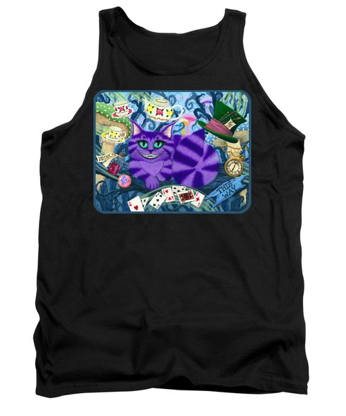 Tank Top featuring the painting Cheshire Cat - Alice In Wonderland by Carrie Hawks