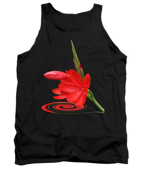 Chic - Ritzy Red Lily Tank Top by Gill Billington